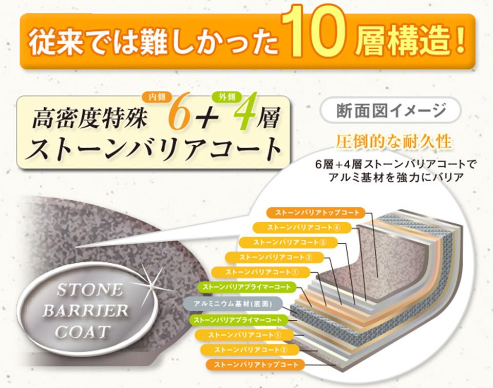 圧倒的な耐久性・高密度特殊10層構造のスーパーストーンバリアフライパン